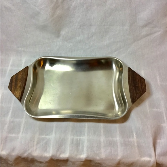Other - Stainless Steel Serving Condiment Tray Dish Wood